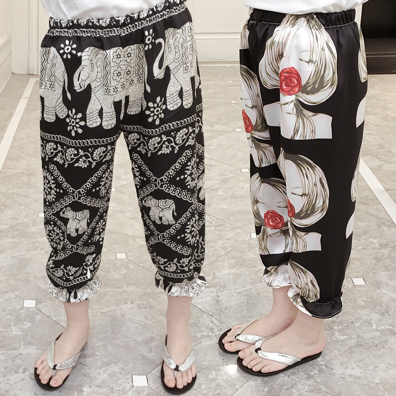 Girls summer wear 2018 new girls mosquito pants summer childrens trousers thin girls air conditioning pants and so on.