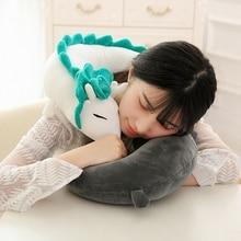 32cm Anime Miyazaki Hayao Spirited Away White Dragon Haku Toy Cute Plush Dragon U Shape Neck Pillow Doll