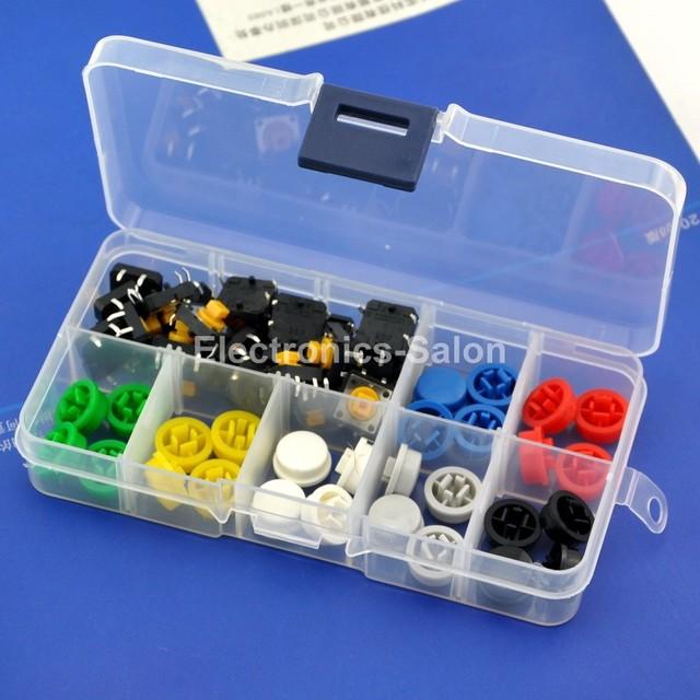 B3F-4055 OMRON Interruptor Táctil y 7 Teclas de Color Kit, 12x12x7.3mm, momentáneo.