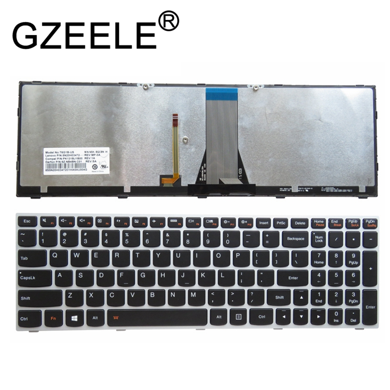 GZEELE NEW US Keyboard FOR Lenovo Flex 2 15 2-15 2-15D US Backlit Keyboard W/ Silver Frame