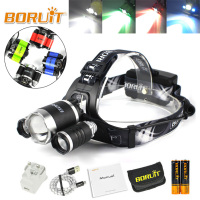 BORUIT XM L2 XPE Green Red Blue White LED Headlamp USB Rechargeable Flashlight Hunting Headlight For