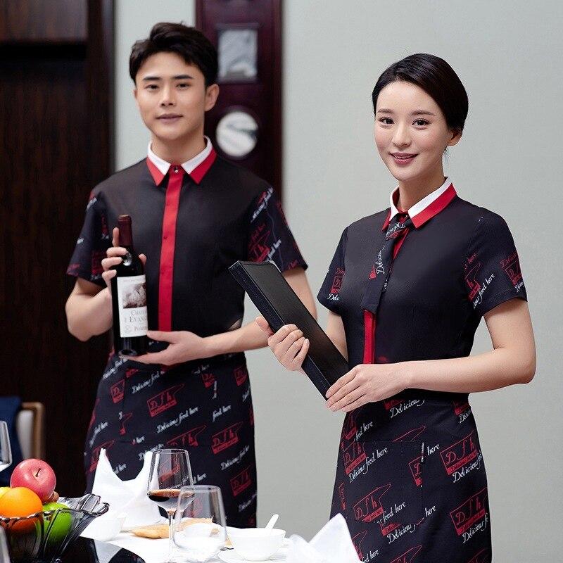 Hotel Waitress Jacket Work Clothes Women Coffee Shop Short Sleeves Overalls Plus Size Restaurant Waiter Breathable Uniform H2233