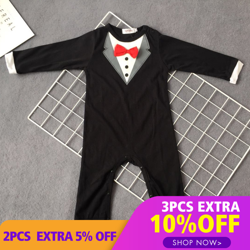 Lemonmiyu Baby Rompers Solid Tie Cotton O-Neck Tops Long Sleeve  For Gentleman Children Covered Button Cartoon Pants 2018