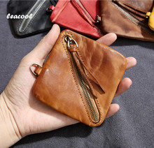 LEACOOL SheepSkin 100% Genuine Leather Coin Purse Men Women Small Mini Pocket Individuality Leather Money Bag Coin Case