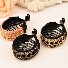 Women Gold Chain Hair Clips Large Hairpins Cute Ties Banana Claws Ponytail Holder Clamp Accessories Head wear Wrap