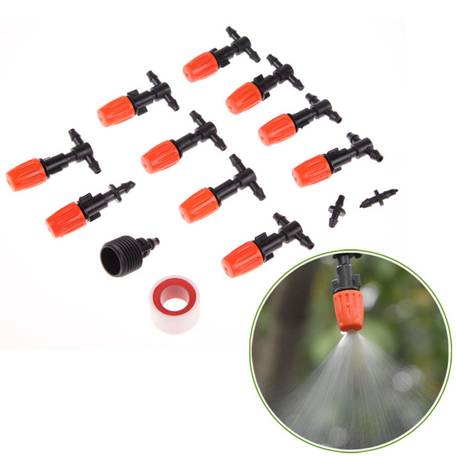 10M DIY Micro Drip Irrigation System Garden sprinkle Self Watering Garden Hose Kits with Connector 10pcs Adjustable Dripper