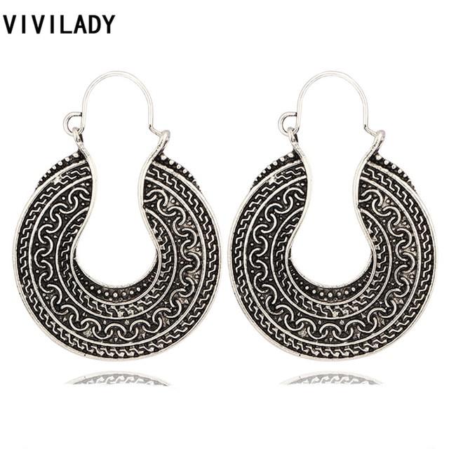 4716ca7258ab VIVILADY Vintage Gypsy Retro Color plata sol tótem grandes aretes Bijoux  accesorios mujeres chicas Brincos fiesta