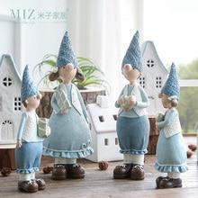 Miz 1 زوج زوجين الراتنج تمثال عيد هدية لعبة للأطفال دمية صبي وفتاة الشكل زينة اكسسوارات