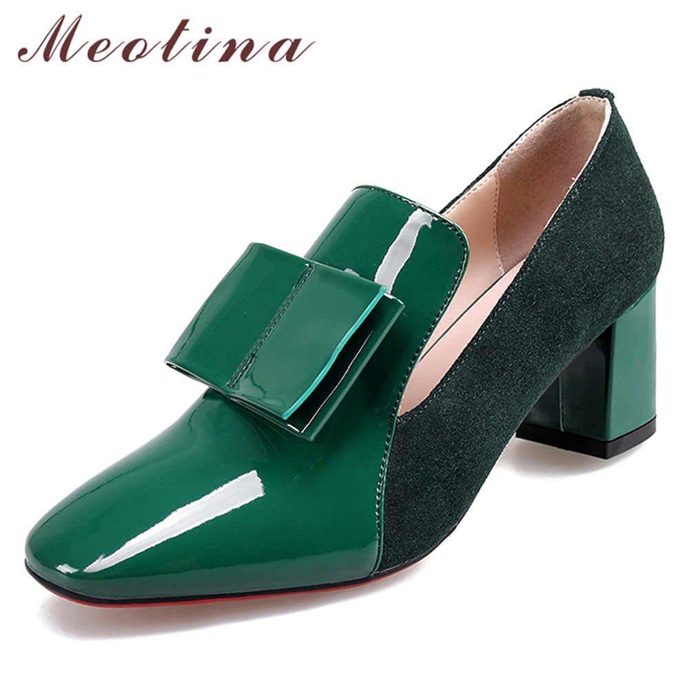 Meotina High Heels Shoes Women Patent Leather Thick High Heel Shoes Bow Square Toe Party Pumps