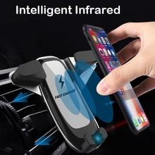 Carro carregador de telefone sem fio para apple iphone xs xr x 8 plus samsung nota 9 s9 s10 titular do telefone do carro rápido qi carro carregador automático