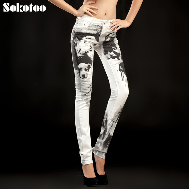 2b5e227ff1 Sokotoo kobiet druku dżinsy kobiece spodnie kwiatowe spodnie klasyczne  czarno-białe spersonalizowane rocznika chude spodnie