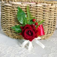 Купить с кэшбэком whosale Burgundy rose brooch groom corsage groomsman flowers wine red petalos de rosa de bodaBoutonnieres