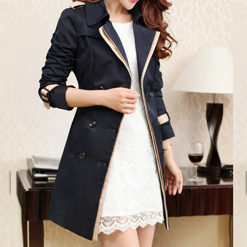 Fashion 2018 New Spring and Autumn women's trench coats casual ladies lapel outerwear slim womens clothing coats