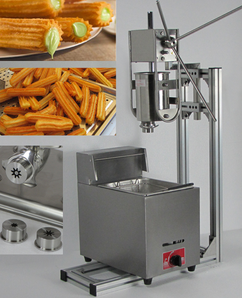 3L Capacity  Commerical  churros maker machine with 6L Gas Deep Fryer and three size churros models commercial 5l churro maker machine including 6l fryer