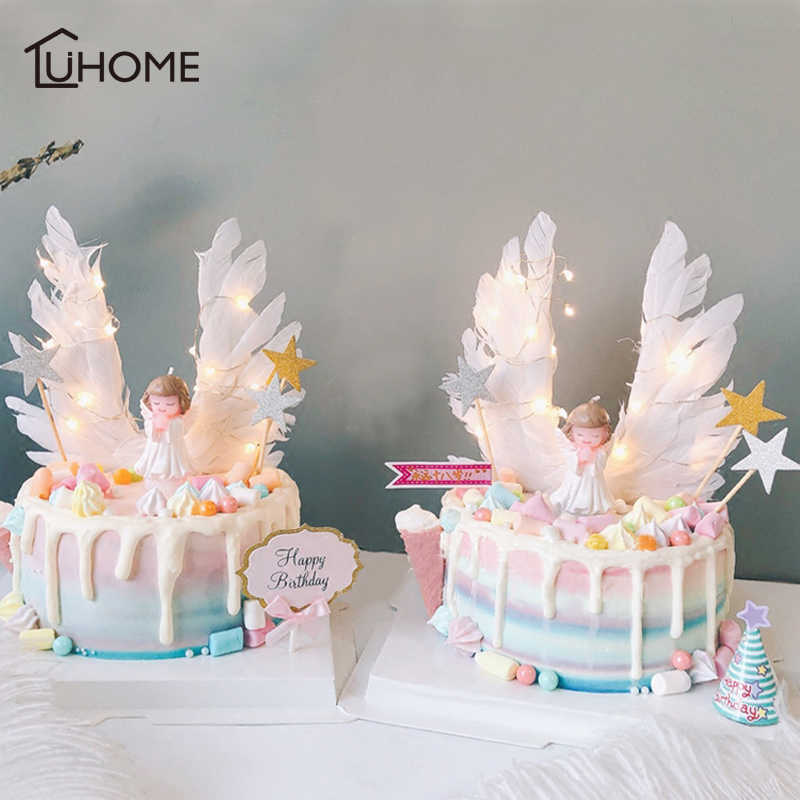 Pleasant Angel Wings Flag String Light Angel Candle Wedding Cupcake Cake Birthday Cards Printable Nowaargucafe Filternl