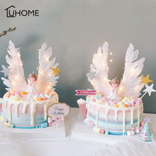 Angel Wings Flag String Light Candle Wedding Cupcake Cake Topper Set for Party Decoration Birthday Flags Baking Decor