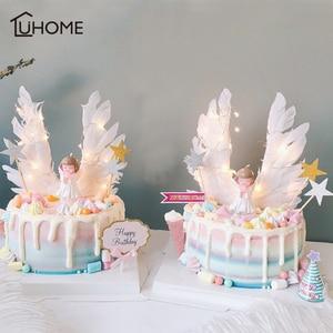 Image 1 - מלאך כנפי דגל מחרוזת אור מלאך נר חתונה Cupcake עוגת צילינדר סט עבור מסיבת קישוט עוגת יום הולדת דגלי אפיית דקור