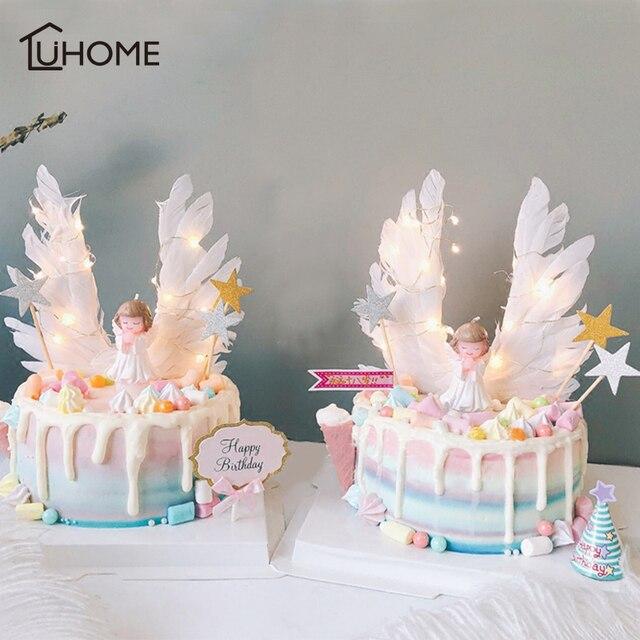 מלאך כנפי דגל מחרוזת אור מלאך נר חתונה Cupcake עוגת צילינדר סט עבור מסיבת קישוט עוגת יום הולדת דגלי אפיית דקור