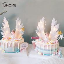 Melek kanatları bayrak dize ışık melek mum düğün Cupcake kek Topper için parti dekorasyon doğum günü pastası bayrakları pişirme dekor