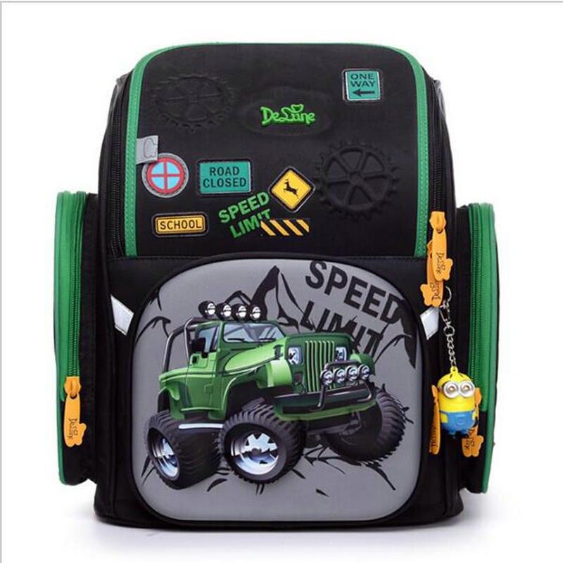 Delune Школьные сумки Дети бремя снижение школьные рюкзаки нейлон Материал 3D автомобиль печати ортопедический рюкзак для мальчиков