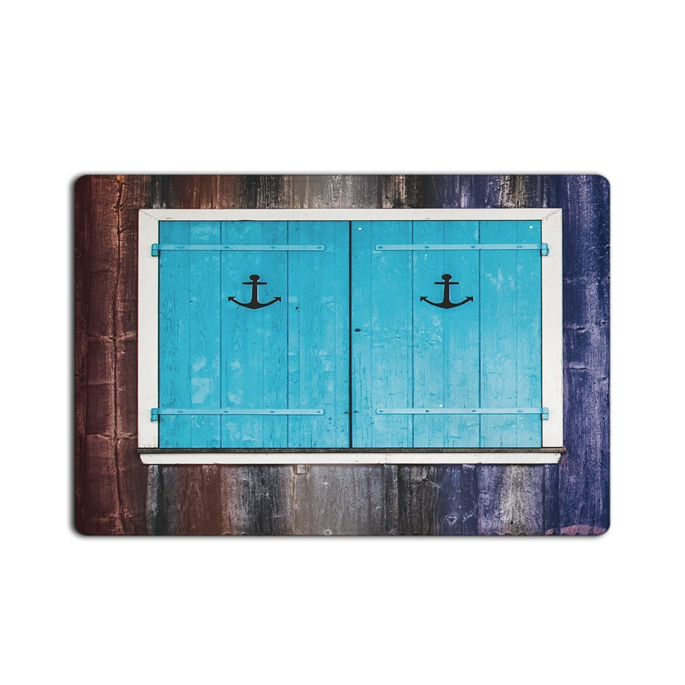 Fashion Custom Door Mats Anchors Decoration Blue Windows Old Wood Background Custom Doormat Machine Washable