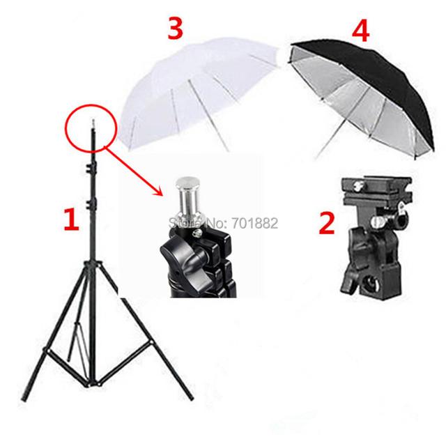 4en1 Photo Studio para Luces, Trípode + Soporte de Flash B Montaje 33 pulgadas Negro Reflective Umbrella 33 pulgadas Blanco Suave paraguas