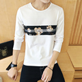 Men's Clothing Tops &Tees T-Shirts  2016 spring New Fashion Brand Men Solid Color Long Sleeve Slim Fit T Shirt plus Size 5xl