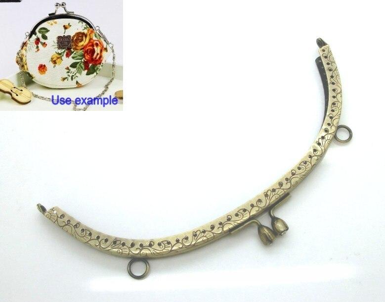 1Pcs Metal Frame Kiss Clasp For Purse Bag Lock Handle DIY Handmade Antique Bronze Clear Rhinestone Pattern 20.3x9.2cm J2609