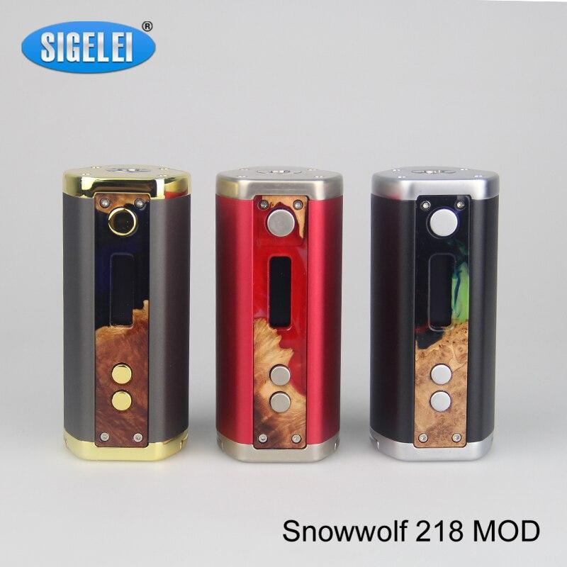 100% Original Sigelei Snowwolf 218 Mod 0.1-3.0ohm 10 w-218 W TC Mod Snowwolf 218 Cigarettes électroniques vape Mod no 18650 batterie