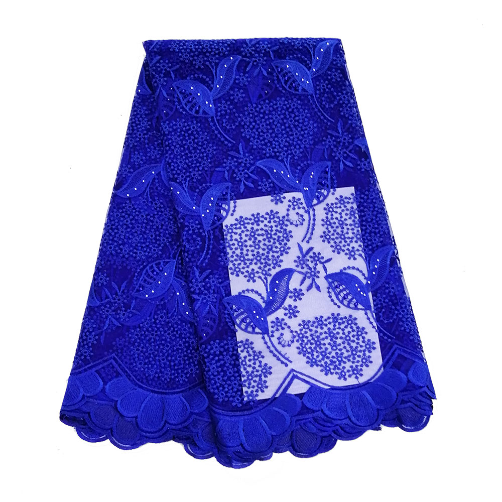 Royal Blue 2019 African Beaded Tulle Lace Fabric High Quality Lace Material Net French Embroidery Nigeria