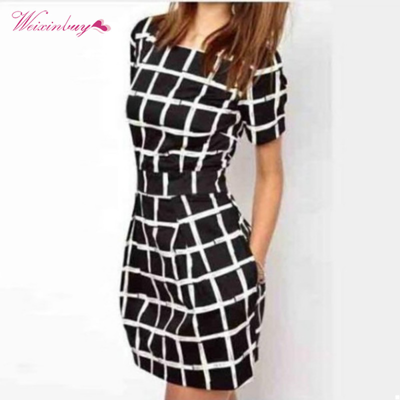 Women Summer Striped Black Dresses Short Sleeve Slim Sexy Polyester Casual Plaid Pencil Mini Dress