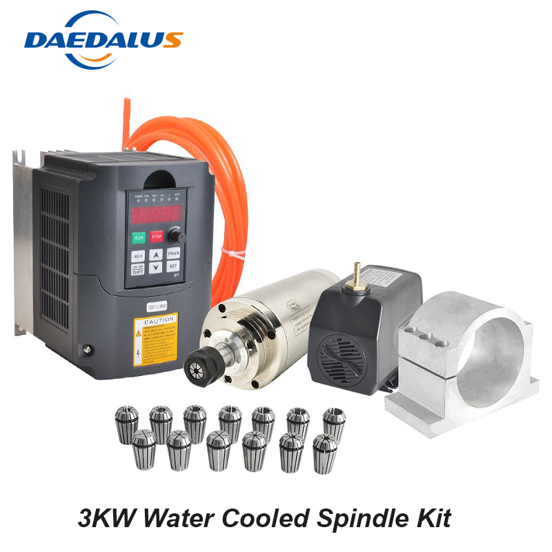 Husillo refrigerado por agua 3KW Motor de husillo CNC 220 V convertidor inversor 3KW VFD abrazadera de montaje 100 MM 13 piezas ER20 collet 75 W bomba de agua