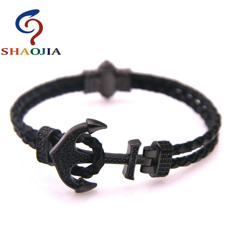 2018 New Micro-zircon Woven Leather Anchor Bracelet With Male And Female Charm Bracelet Jewelry Bracelet Male Bracelet Pulseras faux leather woven love courage bracelet