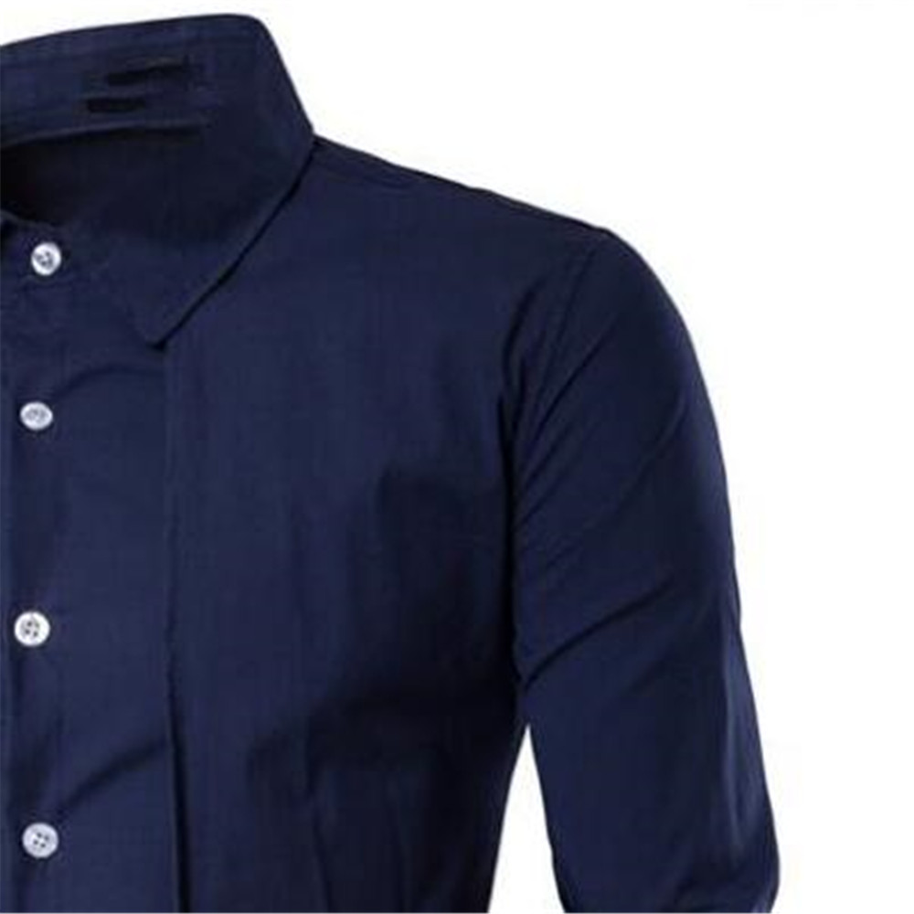 Image 4 - Elegant Man Blue Shirt Gentleman Dinner Party Shirts Long Sleeve Novelty Placket Male Blouse Tide Streetwear 2019 New Boy Tops-in Tuxedo Shirts from Men's Clothing