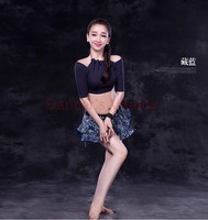 Women Belly Dance Set Sexy Modal Half Sleeves Belly Dance Top Lace Short Skirt 2pcs Bellydance Costume Oriental Dance Costumes
