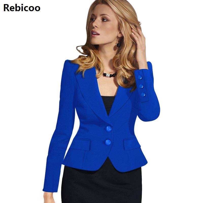 2019 Womens Autumn Winter Long Sleeve Turn Down Collar Button Wear To Work Business Office Outwear Jacket Blazer