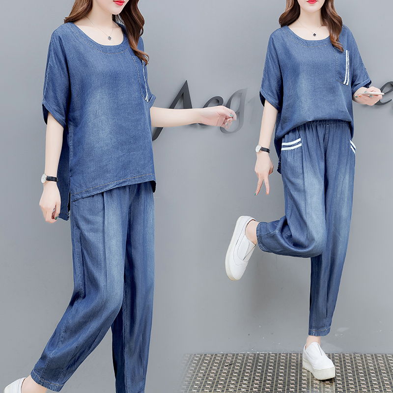 Tracksuit For Women Plus Size 2019 Summer New Fashion Loose Denim Short Sleeve Top + Long Pant Suit Casual Two Piece Set Female