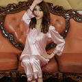 Special Spring and Autumn section of the long-sleeved thin silk pajamas Ms. sexy autumn silk two-piece large yards home service