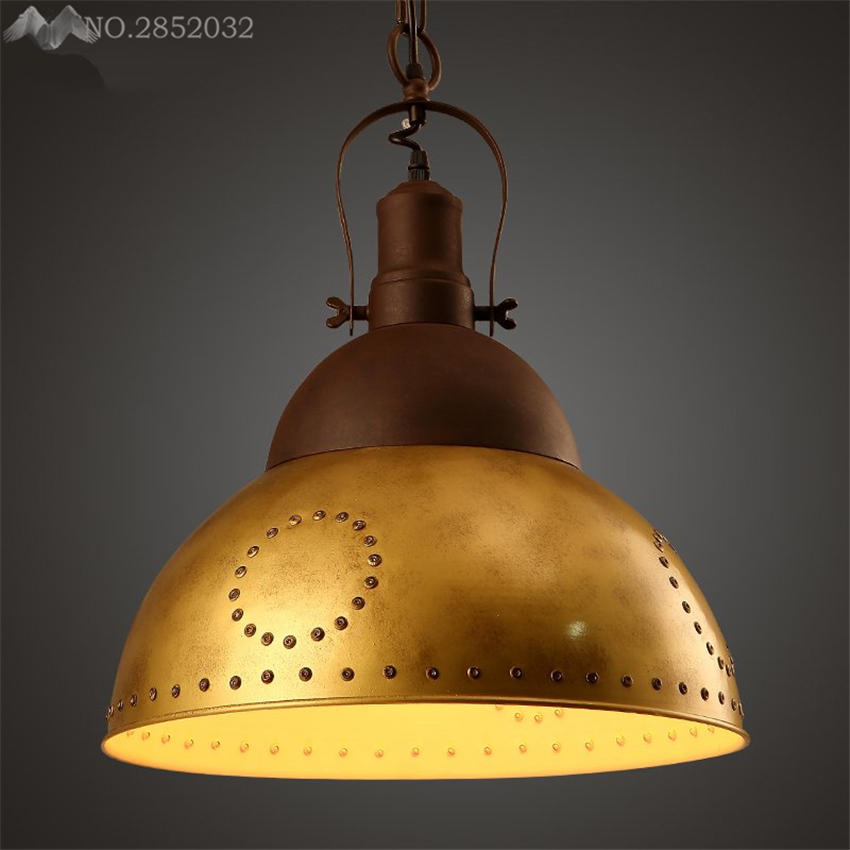 Industrial Caged Pendant With Rivets: LFH Loft Nortic Vintage Industrial Iron Pendant Lamp Gold