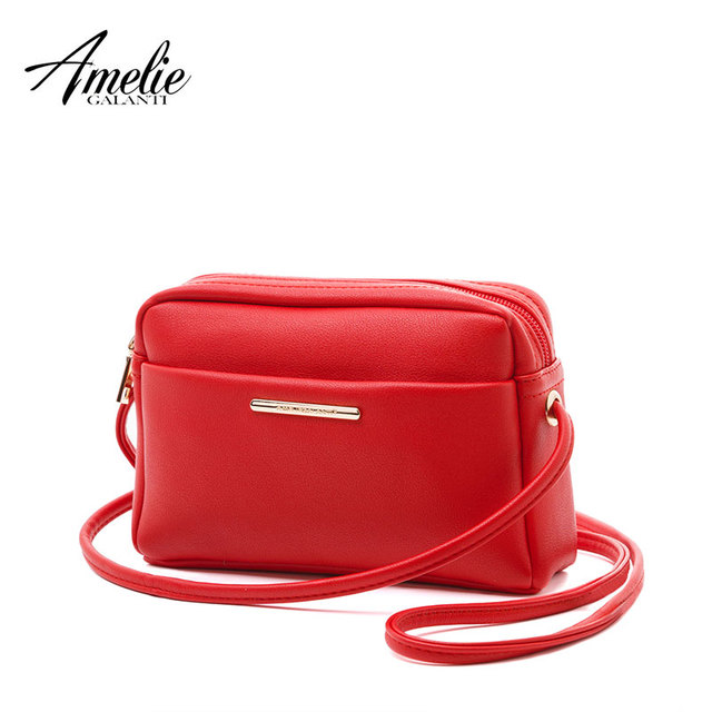 AMELIE GALANTI Small Shoulder Bag Messenger Bags Crossbody Bags Mini Pouch long straps with embroidery soft PU Leather light