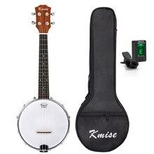 Kmise 4 String Banjo Ukulele Uke Ukelele Concert 23 Inch Size Sapele with Bag Tuner kmise tenor ukulele mahogany ukelele 26 inch uke aquila string 4 string hawaii guitar