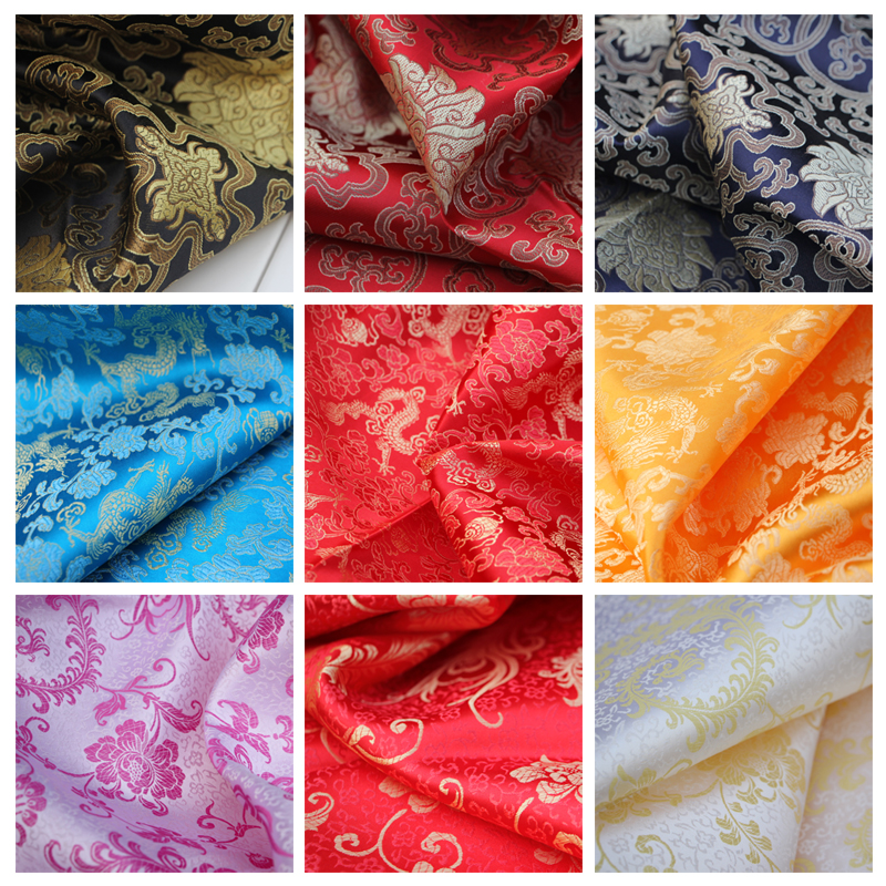100*90cm Woven Brocade Fabric Tang Suit Cheongsam Pteris Dragon Pattern Antique Chinese Clothing Dress Fabric Cloth