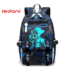 LEDANI Brand New Design One Piece Backpacks Luminous 4 Colors School Bags Canvas Printing  For Teenagers Backpack Male Bag