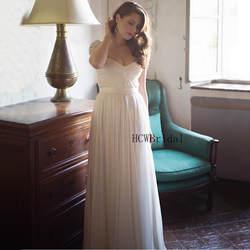 Элегантный шифон Свадебное платье с жемчугом короткий рукав без бретелек линии Пол Длина Дешевые Свадебные платья 2019 Vestido De Noiva