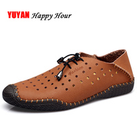 Genuine Leather Loafers Men Summer Shoes Flat Breathable Holes Men's Casual Shoes ZHK247