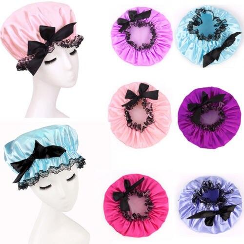 Водонепроницаемый Для женщин Эластичная лента Шнуровка с бантиком Hat волос Для ванной душ салон Кепки ленты Средства для укладки волос