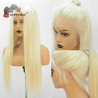Sunnymay Full Lace Human Hair Wigs With Baby Hair #60 Color Brazilian Virgin Hair Straight Pre Plucked Transparent Lace