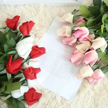 10pcs / lot real touch artificial silk rose bud simulation flower home decor wedding hand holding bride fake wreath bouquet