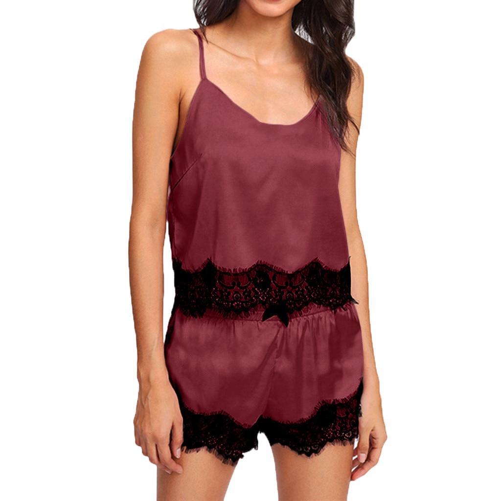 Special Design Setand Women Sleepwear Sleeveless Strap Nightwear Lace Trim Satin Cami Top Pajama Sets #Y40