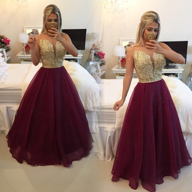 788aa10490 Long Evening prom gown 2018 Formal Sheer Sexy Gold Appliques A-Line Burgundy  Party vestido de noiva mother of the bride dresses